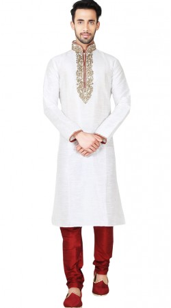 White Art Silk Embroidery Work Kurta With Churidar Bottom GR148817