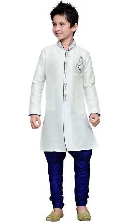 White Art Silk Kid Boy Jodhpuri Pant Sherwani GR17112