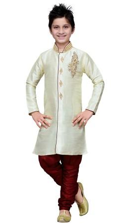 White Art Silk Kid Boy Sherwani For Wedding GR16712