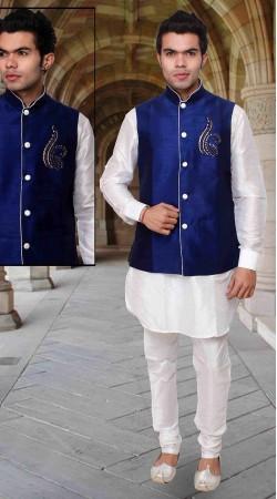 White Art Silk Long Blue Nehru Jacket Style Kurta Pyjama DTKPJ233