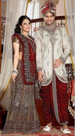 White Brocade Dhoti Style Designer Readymade Sherwani 2FD3685399