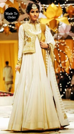 White Chiffon Embroidered Short Koti Style Replica Floor Length Anarkali Suit SMDS0II