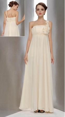 White Chiffon Floral Patch Work Designer Prom Dress 3FD4062045