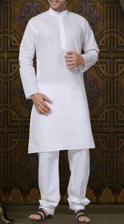 White Cotton Chinese Collar Kurta Pajama RL1189303