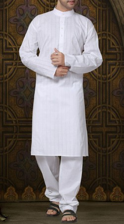White Cotton Chinese Collar Kurta Pajama RL1189703