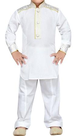 White Cotton Kurta Pajama For Boy Kid BP2238