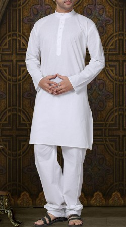 White Cotton Men Kurta Pajama RL1189003