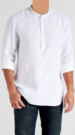 White Cotton Men Short Kurta With Long Sleeves BP1438