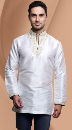 White Dupian Silk Embroidered Neck Men Short Kurta DTDK1863