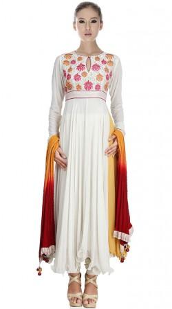 White Georgette Ankle Length Anarkali Suit SU1801