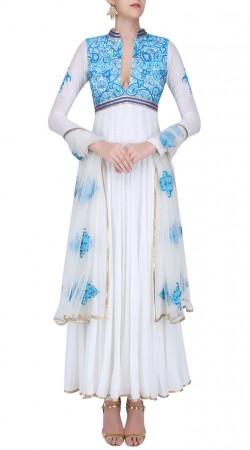 White Georgette Designer Ankle Length Anarkali Suit SUUDS42620