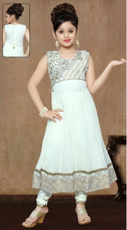 White Georgette Designer Readymade Kids Anarkali Suit DT300241