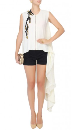 White Georgette Front Zip Side Trail Tunic Top SUUDK21523