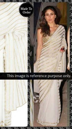 White Georgette Kareena Kapoor Bollywood Saree With Blouse THS11701