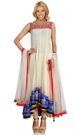 White Georgette Long Tail Anarkali Suit SU1001
