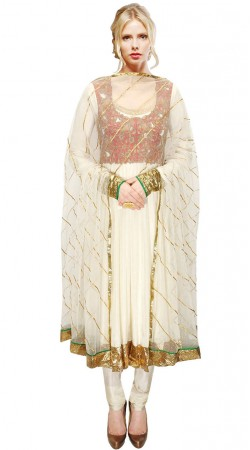 White Georgette Red Short Jacket Style Embroidered Long Anarkali Suit SUUDS31704