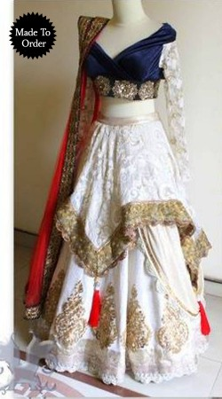 White Georgette Replica Lehenga Choli With Red Dupatta SMDS00U