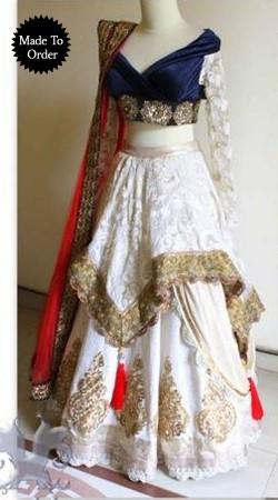 White Georgette Replica Lehenga Choli With Red Dupatta SMDS00U