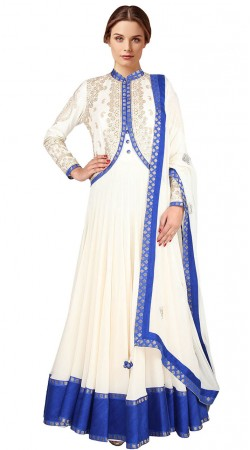 White Georgette Short Koti Style Embroidered Floor Length Anarkali Suit SUUDS30404
