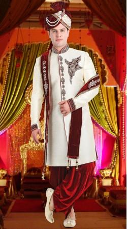 White Jute Groom Wedding Sherwani 3FD8413805