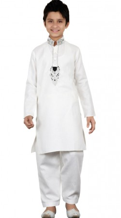 White Linen Cotton Kid Boy Pathani Kurta GR25620
