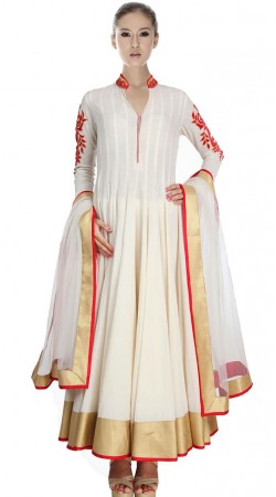 White Net Ankle Length Anarkali Suit SU2501