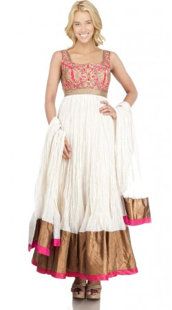 White Net Ankle Length Anarkali Suit SU3601
