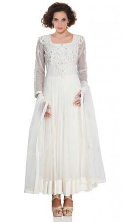 White Net Ankle Length Anarkali Suit SU5001