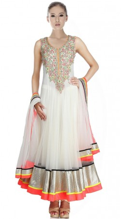 White Net Ankle Length Anarkali Suit SU901