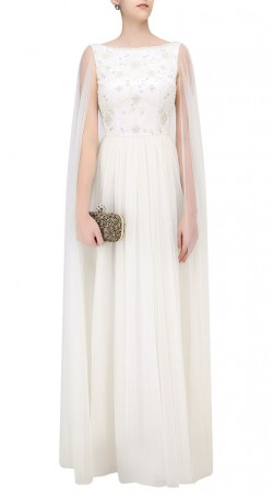 White Net Attached Cape Gown Style Suit SUUDS45526