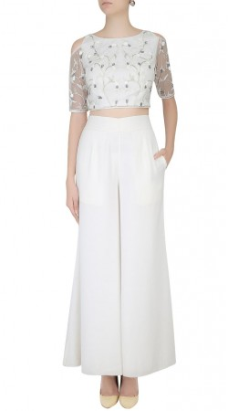 White Net Cold Shoulder Crop Top With Palazzo Pant SUUDL25625