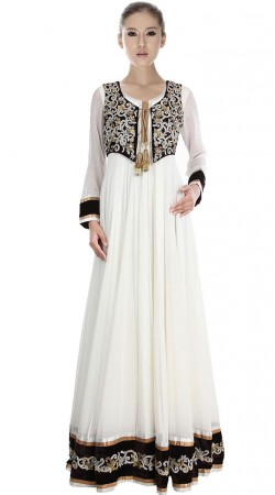 White Net Floor Length Anarkali Suit SU2201