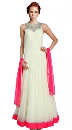 White Net Floor Length Anarkali Suit SU6301