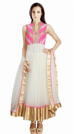 White Net Golden Border Party Wear Salwar Kameez With Dupatta SU21211