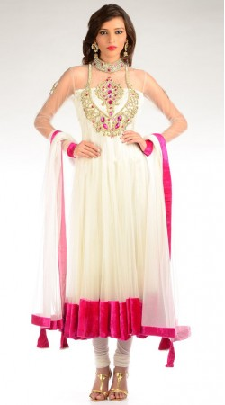 White Net Long Length Anarkali Suit SU6101
