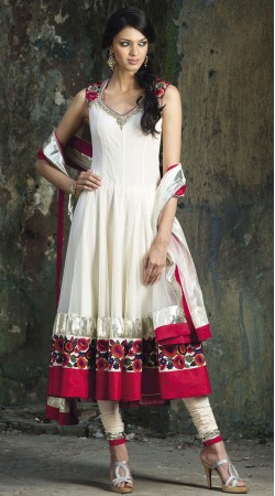 White Net Long Length Anarkali Suit SU9901