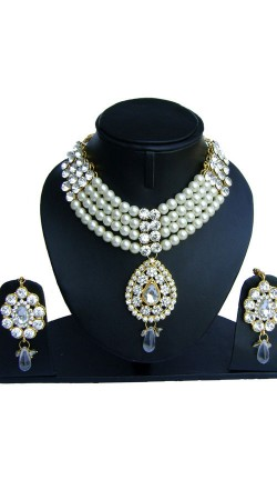 White Pearl Moti And Stones Work Designer Necklace Set NNP75102