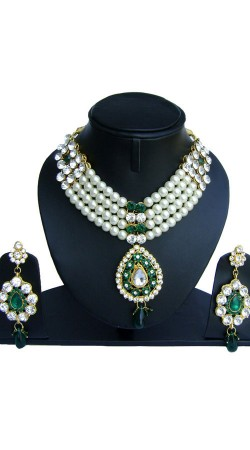 White Pearl Moti Green Stones Necklace NNP74802
