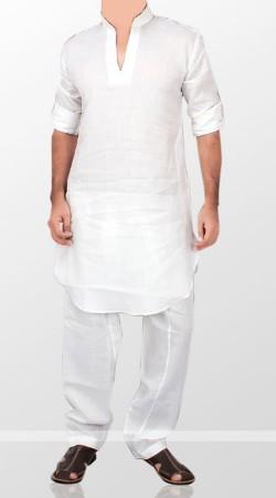 White Plain Cotton Kurta Pajama For Men BP0538