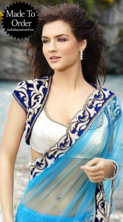 White Premium Fabric Short Koti Style Designer Blouse For Saree VPBDB21