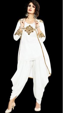White Satin Jacket Style Short Kameez With Dhoti Salwar BP901131