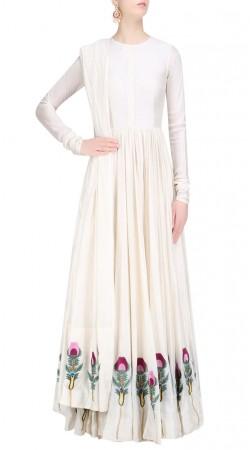 White Silk Floral Work Floor Length Anarkali Suit SUUDS41520