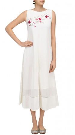 White Silk Medium Length Kameez SUUDK18022