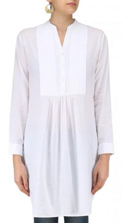 White Silk Plain Short Kurti SUUDK17822