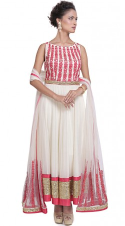 White Silk Plus Size Anarkali Suit With Sequins Border SUMS34224