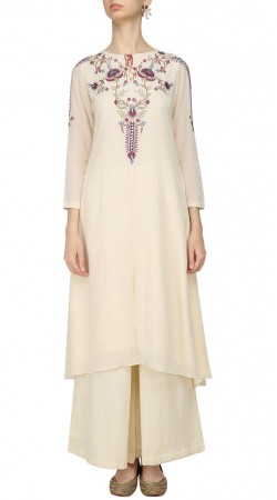 White Silk Plus Size Kameez With Palazzo Pant SUMA56428