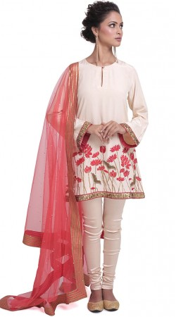 White Silk Plus Size Short Kameez With Churidar SUMS34424