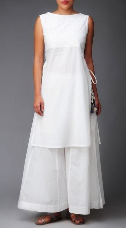 White Straight Kameez With Palazzo Pant BP1547