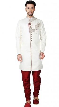 White Wedding Sherwani With Hand Work GR152114