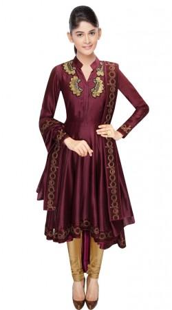 Wine Chanderi Knee Length Anarkali Suit With Dupatta SUUDS32004